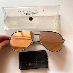 QUAY x Desi Perkins High Key Army Green Sunglasses